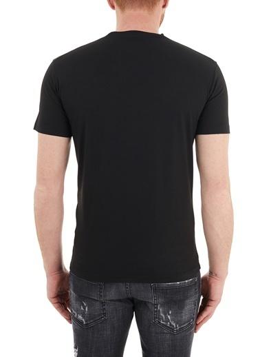 Dsquared2  Baskılı Bisiklet Yaka % 100 Pamuk T Shirt Erkek T Shırt S74Gd0828 S22427 900 Siyah